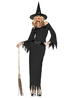 Cosplay Costumes / Party Costume Wizard/Witch Festival/Holiday Halloween Costumes Black Solid Dress / Belt / Headwear Halloween Female