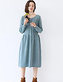 Idylle Insel Frauen Ausgehen / casual / Tages Jahrgang eine Linie um den Hals midi lange Ärmel blau Wolle fallen dresssolid