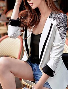 Mulheres Blazer Primavera,Patchwork Branco Poliéster / Elastano Colarinho de Camisa Manga Longa Média