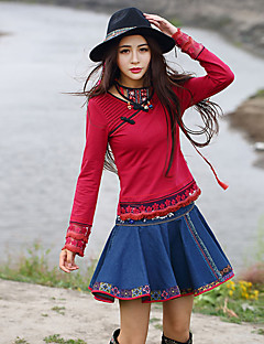 Our Story  Going out Chinoiserie Spring / Fall T-shirtSolid Sweetheart Long Sleeve Red Cotton / Spandex Medium