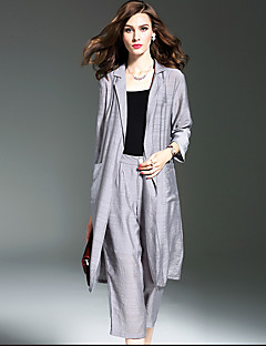 Women's Going out Street chic Fall Blouse Pant,Solid Deep V ¾ Sleeve Blue / Gray Polyester Thin