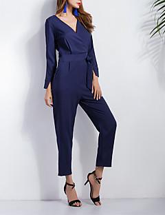 Women's Solid Blue JumpsuitsVintage V Neck Long Sleeve