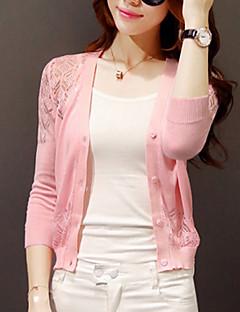 Damen Lang Strickjacke Solide Rosa Weiß Schwarz V-Ausschnitt Langarm Wolle Andere Herbst Dünn Mikro-elastisch