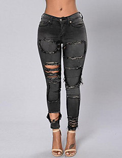 Eenvoudig-Polyester-Micro-elastisch-Jeans-Broek-Vrouwen