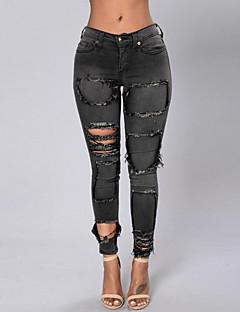 Mulheres Calças Simples Jeans Poliéster Micro-Elástica Mulheres