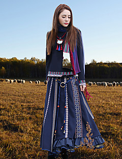 Kineseri Midi Kjolar Kvinnors Oelastisk Ylle / Polyester