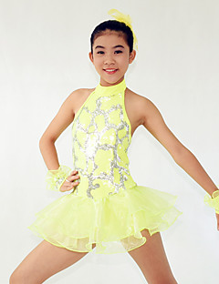 Jazz Dresses Women's / Children's Performance Spandex  / Cascading Ruffle / Paillettes / Flower(s) / Sequins 4 Pieces