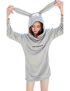 Women's Casual/Daily Street chic Long HoodiesPrint Gray Hooded Long Sleeve Faux Fur /  Winter Medium Inelastic