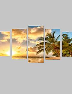 Canvas Set Landschap Vrije tijd Klassiek,Vijf panelen Horizontaal Print Art Muurdecoratie For Huisdecoratie