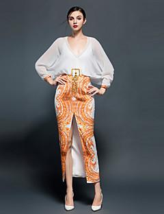 JOJO HANS  Women's Party/Cocktail Sexy Sheath DressPrint Deep V Maxi Long Sleeve Orange Silk Spring