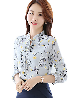 Women's Casual/Daily Street chic All Seasons ShirtPrint Stand Long Sleeve Black / Gray / Yellow Rayon / Polyester Thin