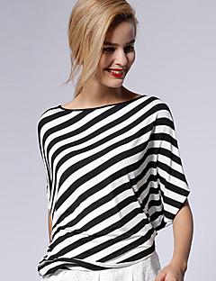 új mielőtt női alkalmi / napi egyszerű nyári t-shirtstriped csónak nyak hossza hüvely