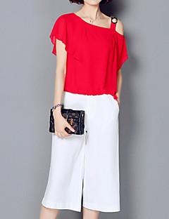 Women's Solid Red / White / Black Set,One Shoulder Short Sleeve
