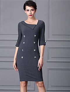 Baoyan® Damen Geschlitzter Ausschnitt 1/2 Ärmel Über dem Knie Kleid-160338