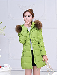 Women's Long Padded Coat,Sexy / Cute Plus Size / Going out / Casual/Daily Solid-Polyester Polypropylene Long Sleeve HoodedBlue / Red /