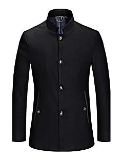 אחיד צווארון מרובע פשוטה יום יומי\קז'ואל מעיל גברים,כחול / שחור שרוול ארוך חורף עבה צמר