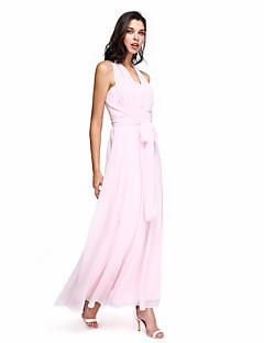 LAN TING BRIDE Até o Tornozelo Coração Vestido de Madrinha - Vestido Convertível Sem Mangas Chiffon