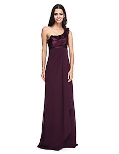 2017 Lanting andar de comprimento bride® chiffon / cetim vestido de dama elegante estiramento - um ombro com babados