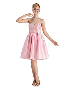 Knee-length Taffeta Open Back Bridesmaid Dress - A-line Sweetheart with Beading