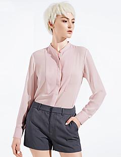 Damen Solide Einfach Ausgehen / Lässig/Alltäglich Hemd,Ständer Frühling / Herbst Langarm Rosa Polyester Dünn