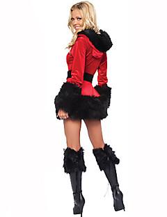 Kerstmanpakken Festival/Feestdagen Halloween Kostuums Rood / Zwart Effen Kleding / Riem / Hoeden Kerstmis Textiel Binnenwerk