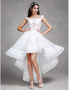 A-line Wedding Dress - Chic & Modern See-Through Asymmetrical Off-the-shoulder Organza with Lace Beading