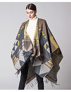 Damer Vintage Akryl Halstørklæde-Patchwork Rektangulær Sort / Blå / Gul / Grå / Orange
