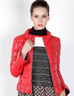 Damen Daunen Mantel,Standard Einfach Lässig/Alltäglich Solide-Andere Weiße Entendaunen Langarm Rot Ständer