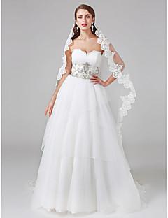 LAN TING BRIDE Da ballo Vestito da sposa Pizzo Strascico di corte A cuore Di pizzo Tulle con Perline Bottoni