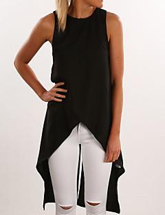 여성 솔리드 라운드 넥 짧은 소매 블라우스,심플 캐쥬얼/데일리 블루 / 레드 / 베이지 / 블랙 폴리에스테르 사계절 중간