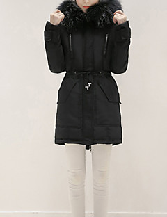 Women's Long Down Coat,Simple / Cute / Street chic Casual/Daily / Formal / Holiday Solid-Polyester White Duck Down Long Sleeve Round Neck