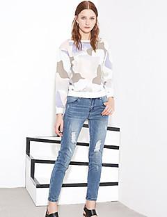 Damen Street Schick Unelastisch Jeans Hose einfarbig