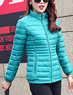 Hight Quality Women's Regular Padded CoatSimple Plus Size / Casual/Daily Solid-Polyester Polyester Long Sleeve Stand Red / Black / Green