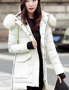 Women's Long Down Coat,Sexy Cute Going out Casual/Daily Plus Size Solid-Polyester White Duck Down Long Sleeve HoodedBlue Pink Red White