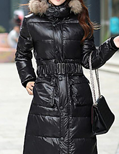 Women's Short Down Coat,Simple / Cute / Street chic Plus Size / Casual/Daily / Formal Solid-Polyester White Duck Down Long SleeveRound