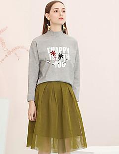 Kvinders Simpel Knælang Nederdele Mikroelastisk Polyester