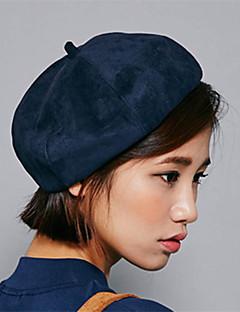 Women Winter Casual Solid Color Velvet British Dome Beret Octagonal Cap