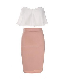 Women's Casual/Daily / Formal Sexy Summer Blouse Skirt Suits,Solid Strapless Sleeveless Pink Polyester Medium