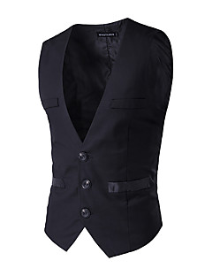 Business / Ceremony / Wedding Solid 100% Cotton Buttons / Pockets