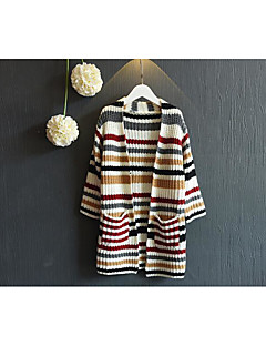 Girl's Casual/Daily Striped Sweater & CardiganCotton Spring / Fall Beige