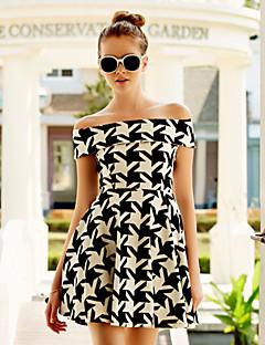 קיץ ניילון שחור שרוולים קצרים מעל הברך סירה רחב Houndstooth וינטאג' ליציאה שמלה גזרת A נשים,גיזרה גבוהה סטרצ'י (נמתח) בינוני (מדיום)