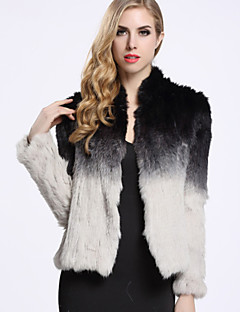 BF-Fur Style  Women's Casual/Daily Simple Fur CoatColor Block Long Sleeve Winter Black Rabbit Fur
