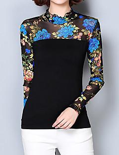 Feminino Blusa Happy-Hour / Casual / Tamanhos Grandes Moda de Rua Primavera / Outono,Floral / Estampado Azul / VermelhoAlgodão /