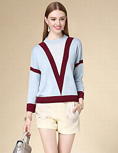 DOF Women's Casual/Daily Simple Short PulloverStriped Blue Crew Neck Long Sleeve Cotton Fall Thin Micro-elastic