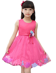 Girl's Casual/Daily Solid / Floral Dress,Silk Summer Pink / Red