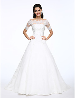 Lanting Bride® A-line Wedding Dress Two-Piece Wedding Dresses Court Train Off-the-shoulder Lace / Satin with Appliques / Beading / Button