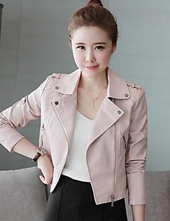 女性 カジュアル/普段着 ソリッド レザージャケット,シンプル ピンク / ブラック ポリウレタン 長袖