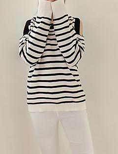 Women's Going out / Casual/Daily Sexy / Simple / Cute Regular PulloverStriped / Rainbow Black / Multi-color
