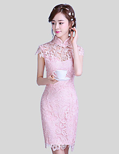 Short / Mini Lace Elegant Bridesmaid Dress - Sheath / Column High Neck with Lace