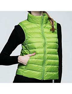 Manteau Doudoune Femme,Long simple Décontracté / Quotidien / Grandes Tailles Couleur Pleine-Polyester Duvet de Canard Blanc Sans Manches
